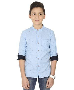 MANET  Melange Three Fourth Sleeves Ship Printed  Shirt - Blue