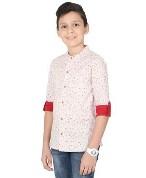 MANET Melange Three Fourth Sleeves Boy With Surfboard Print Shirt - Peach