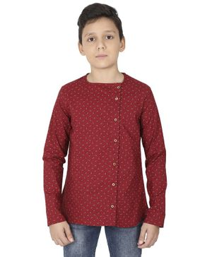 MANET Bohemian Full Sleeves Printed Shirt - Maroon