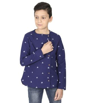 MANET Bohemian  Full Sleeves Ship Printed Shirt - Blue
