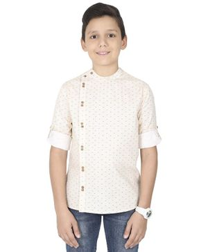 MANET Full Sleeves Printed Shirt - Cream