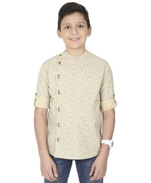 MANET Full Sleeves Flower Print Shirt - Cream
