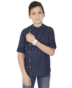 MANET Full Sleeves Printed Shirt - Navy Blue