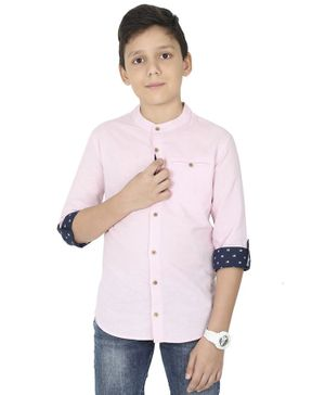 MANET Melange Three Fourth Sleeves Solid  Shirt Solid - Pink