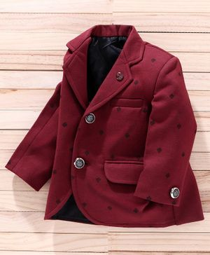 Robo Fry Full Sleeves Printed Blazer - Maroon