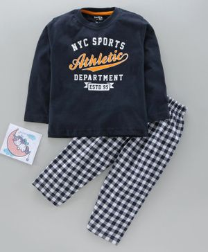 Smarty Full Sleeves Tee & Lounge Pant Text Print - Navy