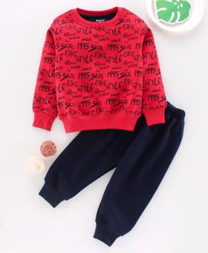 Smarty Full Sleeves Winter Wear Tee & Lounge Pant Text Print - Red Navy Blue