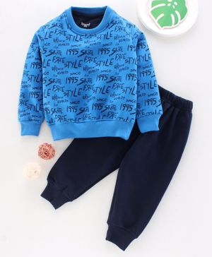 Smarty Full Sleeves Winter Wear Tee & Lounge Pant Text Print - Blue
