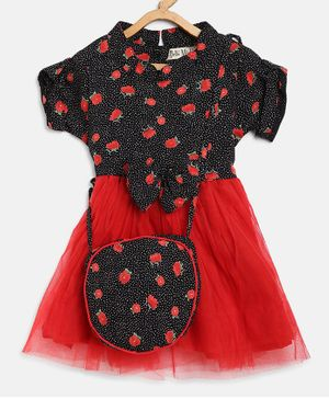 Bella Moda Short Sleeves Polka Dot & Floral Print Dress With Sling Bag - Red