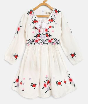 Bella Moda Full Sleeves Floral Work Dress - White