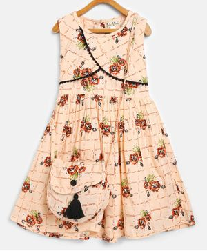 Bella Moda Flower Print Sleeveless Dress With Matching Sling Bag - Cream