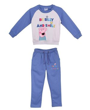 Peppa Pig by Toothless Full Sleeves Be Silly And Smile Printed T-Shirt With Pants - Grey & Blue