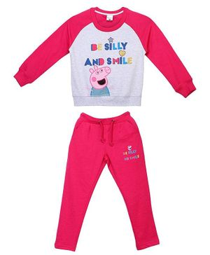 Peppa Pig by Toothless Full Sleeves Be Silly And Smile Printed T-Shirt With Pants - Grey & Pink