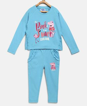 Peppa Pig by Toothless Full Sleeves Pink Is My Happy Colour Print T-Shirt With Pants - Blue
