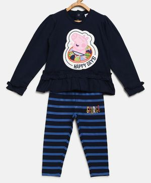 Peppa Pig by Toothless Full Sleeves Top With Striped Pants Set - Navy Blue