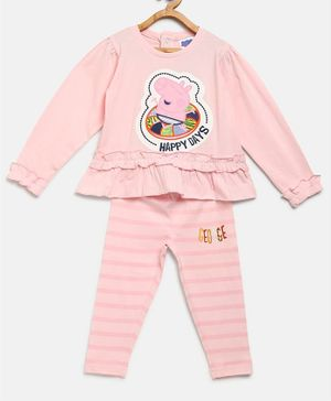 Peppa Pig by Toothless Full Sleeves Top With Striped Pants Set - Pink