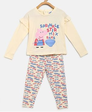 Peppa Pig by Toothless Full Sleeves Printed Top With Pants Set  - Off White