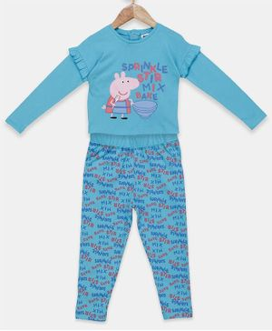 Peppa Pig by Toothless Full Sleeves Printed Top With Pants Set  - Blue