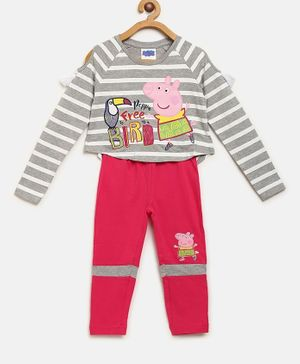 Peppa Pig by Toothless Full Sleeves Striped Top With Pants Set - Grey