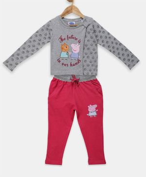 Peppa Pig by Toothless Full Sleeves Shell Printed T-Shirt With Pants  - Grey Melange