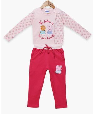 Peppa Pig by Toothless Full Sleeves Shell Printed T-Shirt With Pants  - Pink