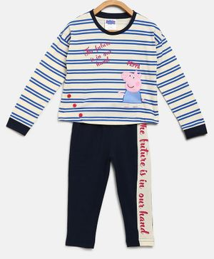 Peppa Pig by Toothless Full Sleeves Striped T-Shirt With Pants Set  - Blue