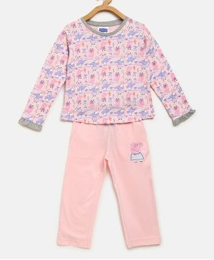 Peppa Pig by Toothless Full Sleeves Printed T-Shirt With Pants Set  - Barely Pink