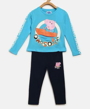 Peppa Pig by Toothless Full Sleeves Printed T-Shirt With Pants - Blue