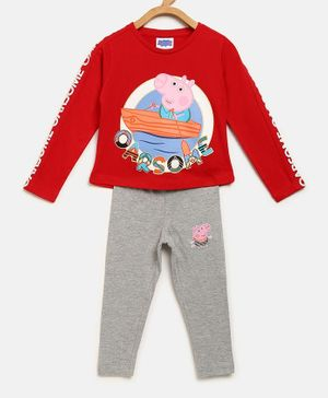 Peppa Pig by Toothless Full Sleeves Printed T-Shirt With Pants - Red & Grey