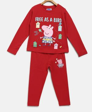 Peppa Pig by Toothless Full Sleeves Free As A Bird Printed T-Shirt With Pants Set - Mars Red