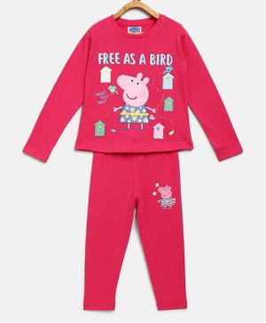 Peppa Pig by Toothless Full Sleeves Free As A Bird Printed T-Shirt With Pants Set - Pink