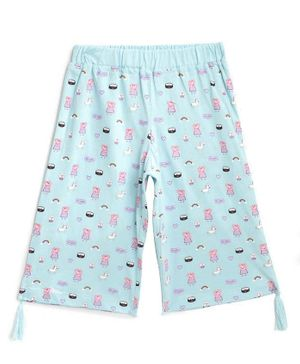 Peppa Pig by Toothless Three Fourth Length Printed  Capri - Sky Blue
