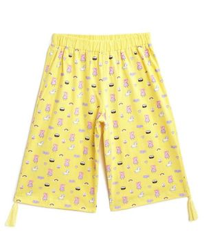 Peppa Pig by toothless Three Fourth Length Printed Capri - Yellow