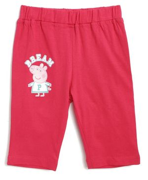 Peppa Pig by Toothless Printed Three Fourth Length Capri  - Pink