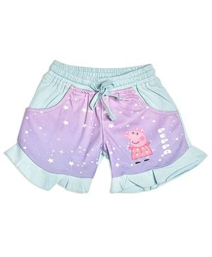 Peppa Pig by Toothless Stars Printed Shorts - Sky Blue & Pink
