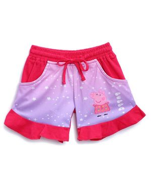 Peppa Pig by Toothless Stars Printed Shorts - Pink & Red