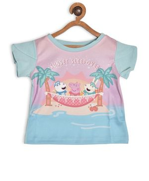 Peppa Pig by Toothless Short Sleeves Printed T-Shirt - Sky Blue