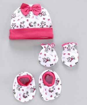 Babyhug 100% Cotton Cap Mittens & Booties Set Kitty Print - Pink