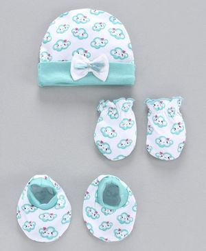 Babyhug 100% Cotton Cap Mitten and Booties Set Cloud Print - Sea Green