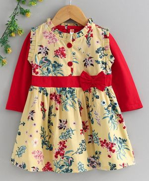 Dew Drops Cotton Frock with Full Sleeves Inner Tee Floral Print - Yellow Red