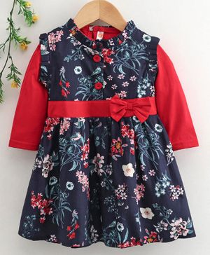 Dew Drops Cotton Frock with Full Sleeves Inner Tee Floral Print - Navy Red