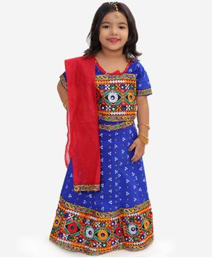 KID1 Half Sleeves Bandhani Print Choli With Mirror Work Detailing Lehenga & Dupatta - Blue