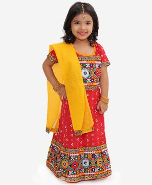 KID1 Half Sleeves Bandhani Print Choli With Mirror Work Detailing Lehenga & Dupatta - Red