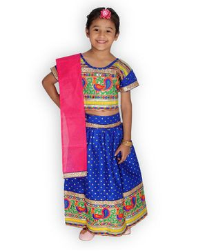 KID1 Half Sleeves Bandhani Print Choli With Elehpant Design Lace Detailing Lehenga & Dupatta - Blue