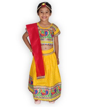 KID1 Half Sleeves Bandhani Print Choli With Elehpant Design Lace Detailing Lehenga & Dupatta - Yellow