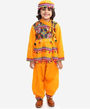 KID1 Full Sleeves Mirror Work Detailing Kedia Set With Cap - Yellow