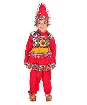 KID1 Full Sleeves Kutch Work Detailing Kedia Set With Cap - Red