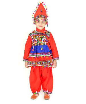 KID1 Full Sleeves Kutch Work Detailing Kedia Set With Cap - Orange