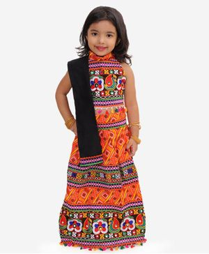 KID1 Sleeveless Mirror Work Detailing Choli With Bandhani Lehenga & Dupatta - Orange
