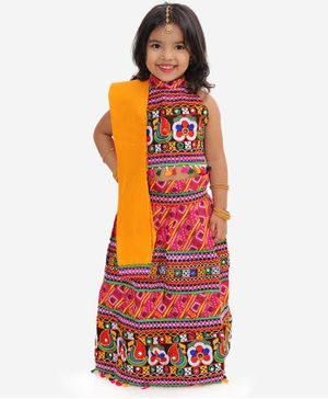 KID1 Sleeveless Mirror Work Detailing Choli With Bandhani Lehenga & Dupatta - Pink